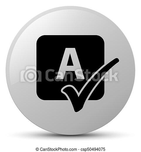 Spell check icon white round button - csp50494075
