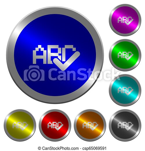 Spell check luminous coin-like round color buttons - csp65069591