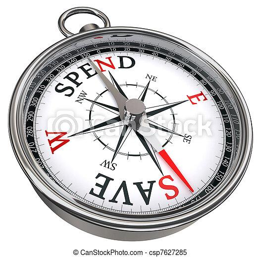 spend versus save concept compass - csp7627285