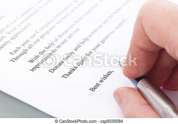 Spende Dank Brief Unterschrift Hat Gebückt Stift Hand Spende