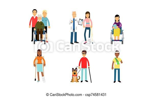 speranzoso, set, vivente, fondo, vita, crutches, vettore, illustrazione, persone, isolato, normale, bianco, invalido, sedie rotelle - csp74581431