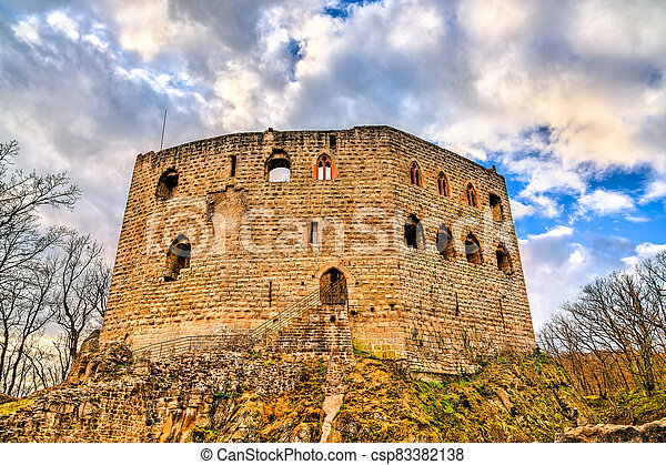Spesbourg castle in the Vosges Mountains, France - csp83382138