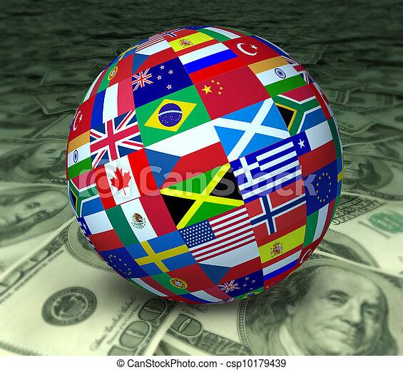 sphère, économie, drapeaux, mondiale - csp10179439