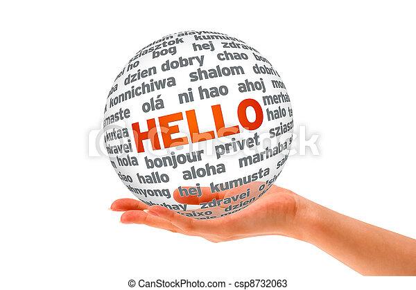 sphère, 3d, bonjour, tenant main - csp8732063