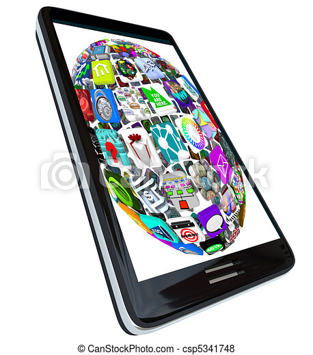 sphère, téléphone, app, intelligent, icônes - csp5341748