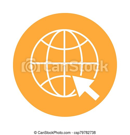 sphere browser with mouse pointer block style icon - csp79782738