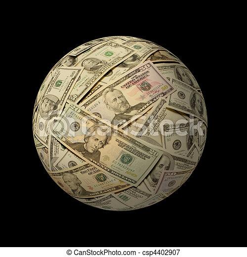 Sphere of American banknotes against black - csp4402907