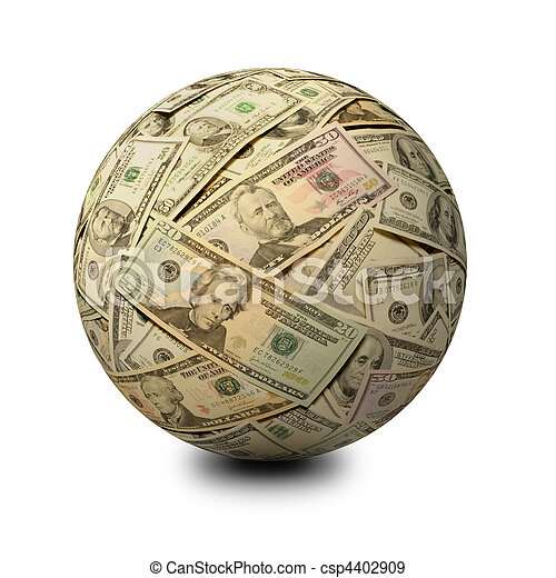 Sphere of American Banknotes on a White Surface - csp4402909
