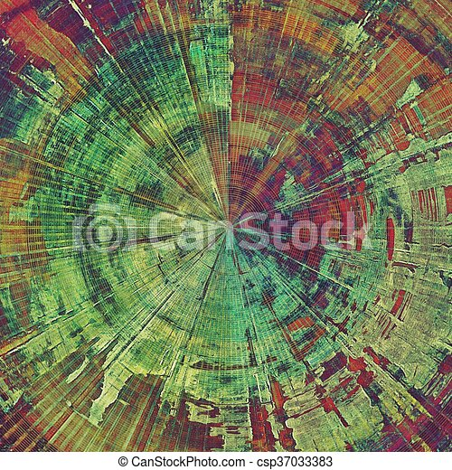 Spherical background with dirty grunge texture, vintage style elements and different color patterns: yellow (beige); brown; green; red (orange); purple (violet); pink - csp37033383