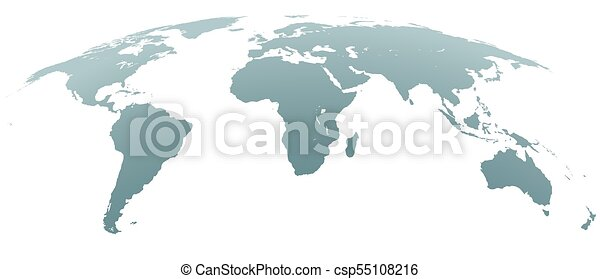 Spherical World Map.Spherical Curved Gray World Map On White Background World Shape