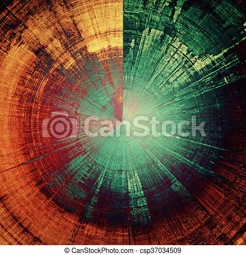 Spherical retro design composition, grunge background or textured backdrop. With different color patterns: yellow (beige); brown; green; blue; red (orange); purple (violet) - csp37034509