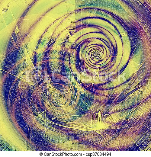 Spherical vintage background, antique grunge backdrop or scratched texture with different color patterns: yellow (beige); blue; purple (violet); pink - csp37034494
