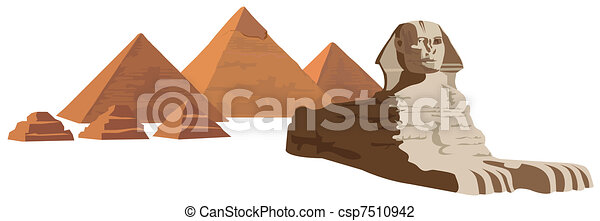Sphinx and the Pyramids  - csp7510942