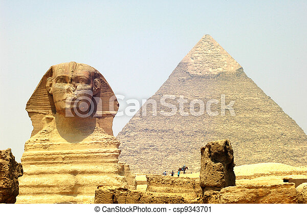 Sphinx in front of Pyramid Giza - csp9343701