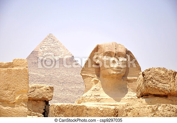 Sphinx in front of Pyramid Giza - csp9297035