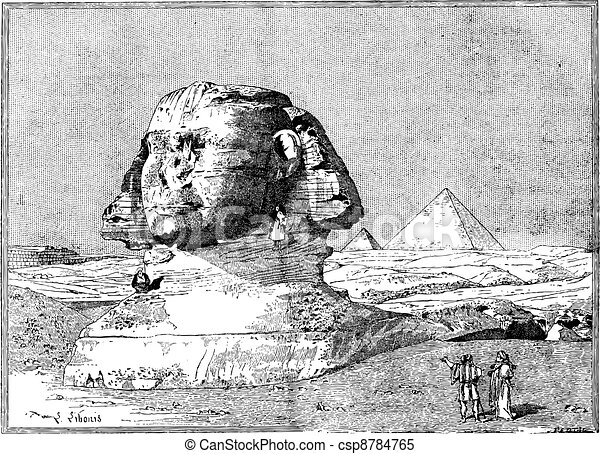 Sphinx, near the ruins of Memphis, Egypt, vintage engraving. - csp8784765