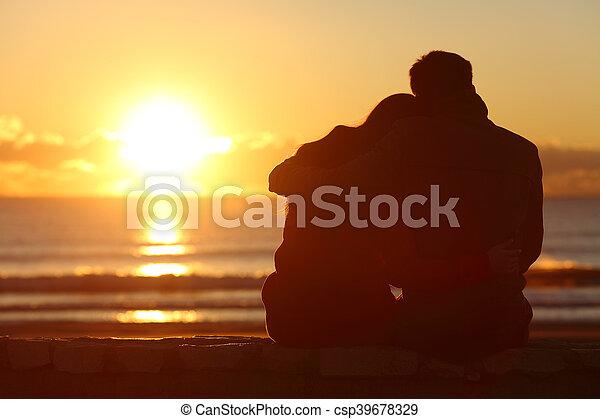 spiaggia, agganciare tramonto, inverno, osservare - csp39678329