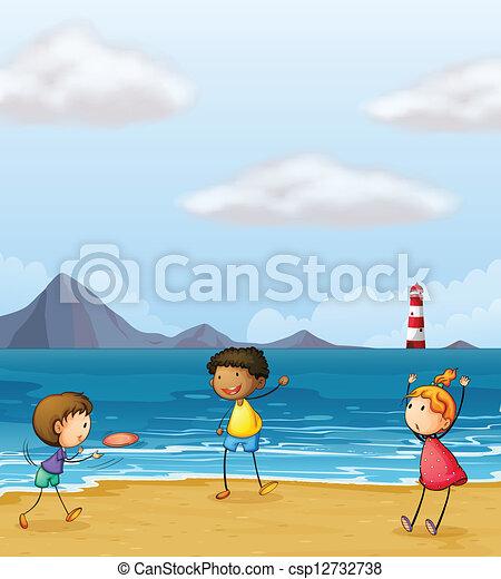 spiaggia, bambini giocando - csp12732738