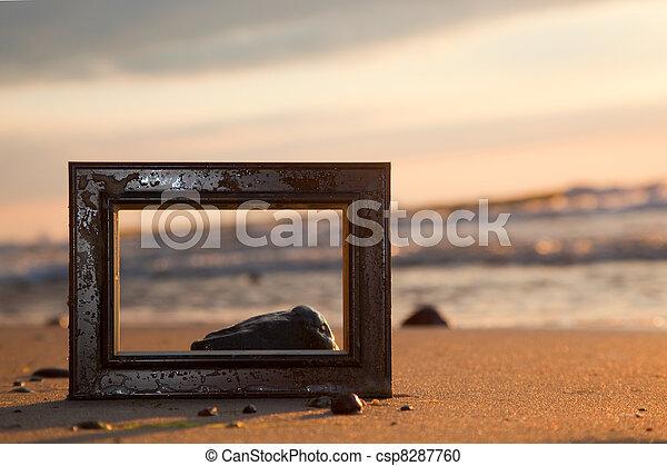 spiaggia, cornice, tramonto - csp8287760