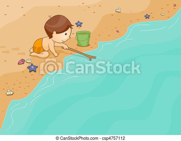 spiaggia, gioco, capretto - csp4757112