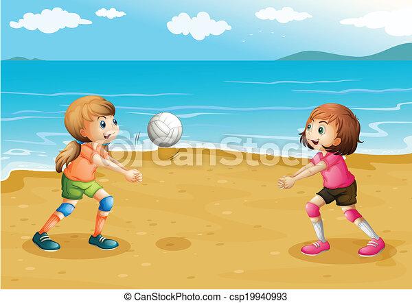 spiaggia, ragazze, gioco volleyball - csp19940993