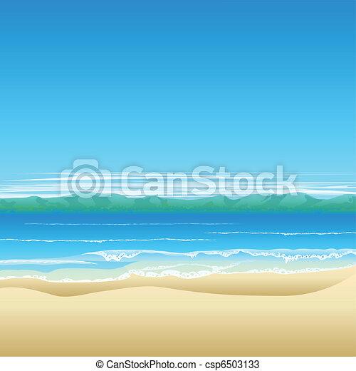 spiaggia tropicale, fondo, illustrazione - csp6503133