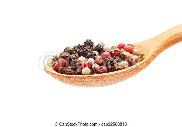 Spice in spoon on white background - csp32568813