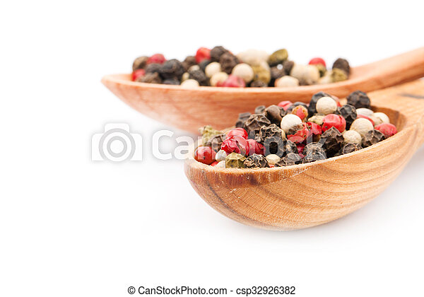 Spice in spoon on white background - csp32926382