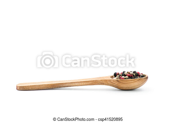 Spice in spoon on white background - csp41520895