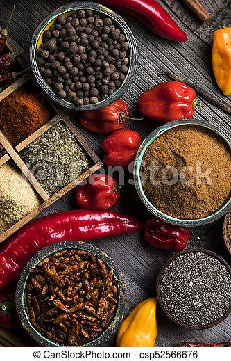 Spice Still Life, wooden bowl - csp52566676