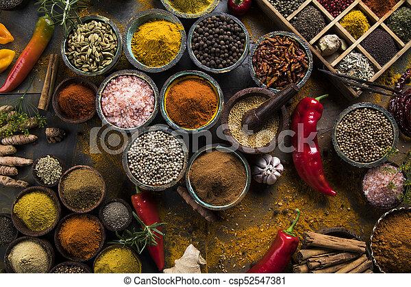 Spice Still Life, wooden bowl - csp52547381