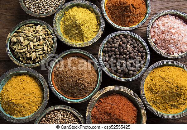 Spice Still Life, wooden bowl - csp52555425