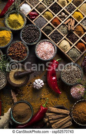 Spice Still Life, wooden bowl - csp52570743