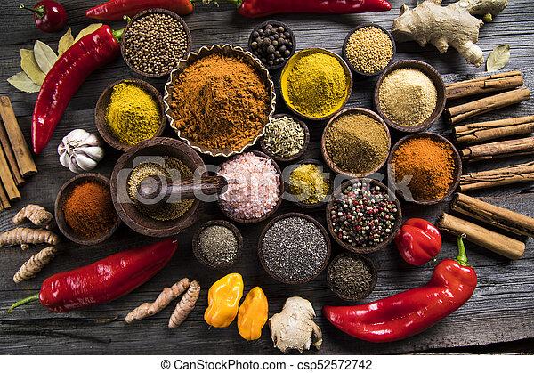 Spice Still Life, wooden bowl - csp52572742