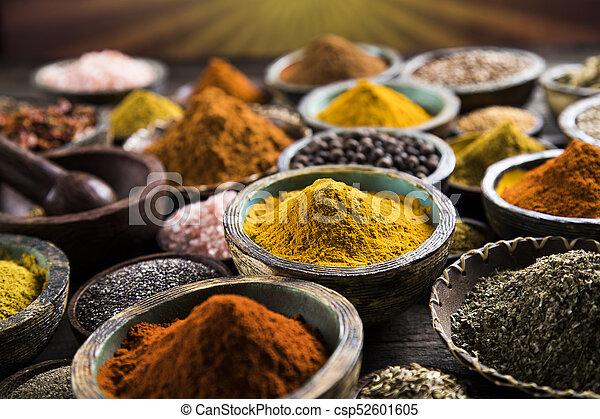 Spice Still Life, wooden bowl - csp52601605