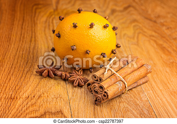 spices and orange for Christmas mulled wine - csp22787397