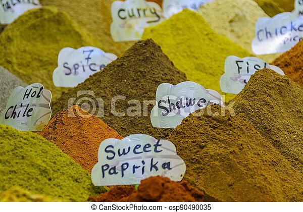 Spices at Street Market, Old Jerusalem - csp90490035