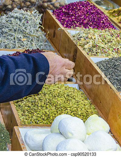 Spices at Street Market, Old Jerusalem - csp90520133