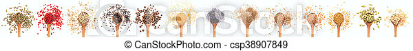 Spices collage on white background - csp38907849
