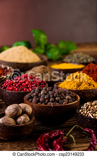 Spices in wooden Indonesian bowls