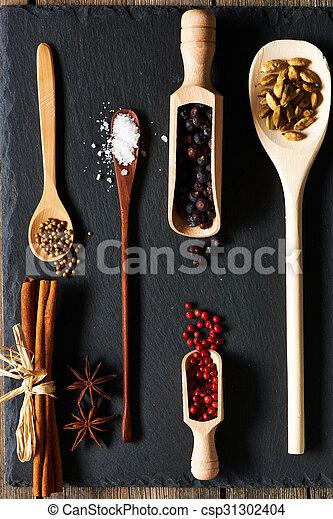 Spices in wooden utensils - csp31302404