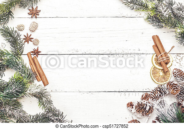Christmas Wood Background.Spicy Christmas Wood Background With Cinnamon Sticks And Anise Stars Top View Copy Space