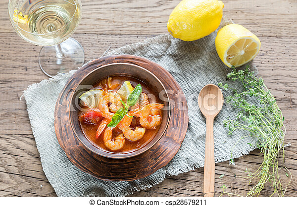 Spicy french soup with seafood - csp28579211