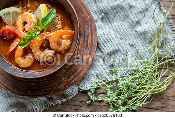 Spicy french soup with seafood - csp28579163