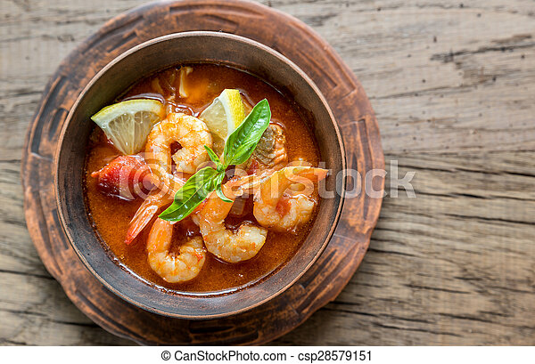 Spicy french soup with seafood - csp28579151