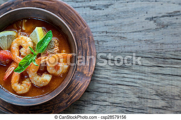 Spicy french soup with seafood - csp28579156