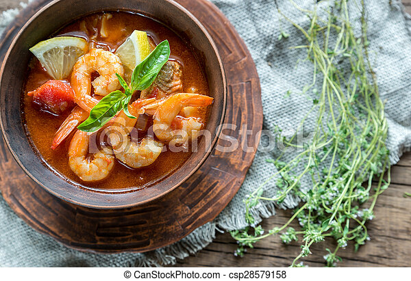 Spicy french soup with seafood - csp28579158