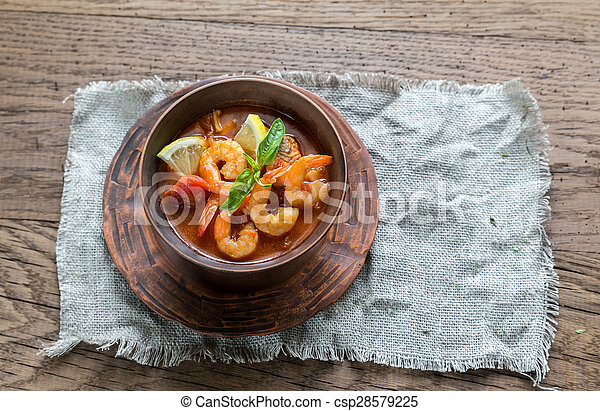 Spicy french soup with seafood - csp28579225