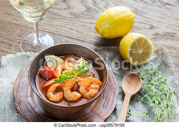 Spicy french soup with seafood - csp28579195