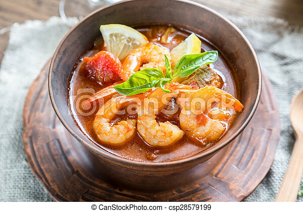 Spicy french soup with seafood - csp28579199
